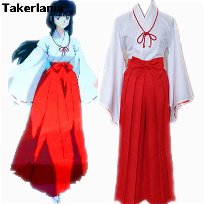 Takerlama Japan Anime Inuyasha Kikyo Mikofuku Kimono Cosplay Dress Costume Full Set Halloween Carnival Anime Cosplay Costume