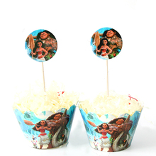 12pcs wrappers+12pcs toppers Moana cupcake cartoon for kids birthday party cake decoration supplies