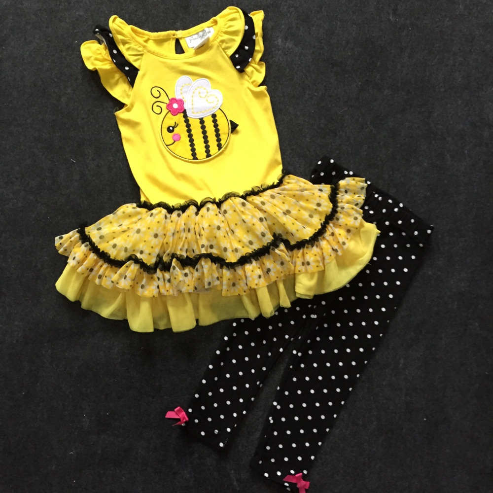 7sets/lot Rare Editions 2-6yrs Baby Girls' Little Bee Appilique Tutu Dress and black Legging Set, bee Embroidery