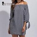 Women Shirts Slash Neck  High Street Style Long Bowknot Sleeve Off-The-Shoulder Pullover Feminina Dress D6N9240Y