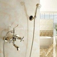 ゴールドポリッシュ真鍮壁取付けスイベルスパウトダブルハンドル浴室clawfoot浴槽シンク蛇口ミキサータップw handshower atf133
