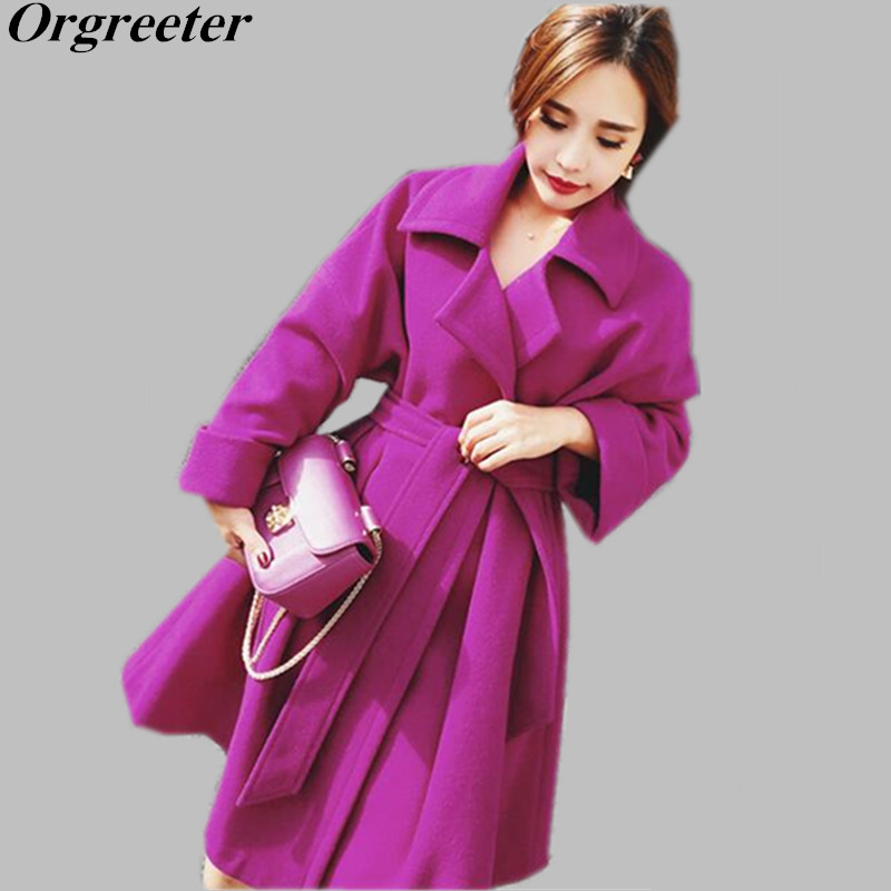 High Quality Female Autumn Winter Long Woolen Coat 2019 Runway Fashion Women Turn down collar Elegant