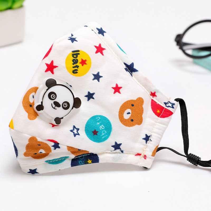 Crianças anti-poeira pm2.5 máscara de boca facial dos desenhos animados coloridos impressão respirador ajustável com válvula de respiração do filtro de ar