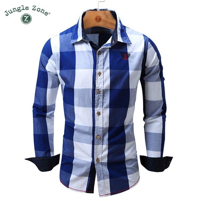 2016 мода большой плед дизайн мужской с длинными рукавами рубашки случайным 100% хлопок дышащие и удобные мужские рубашки FM099