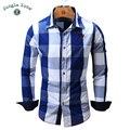 2016 de la moda de diseño a cuadros grandes de manga larga de los hombres camisa casual camisa 100% de algodón transpirable y cómodo de los hombres camisas FM099