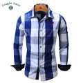 2016 fashion big plaid design men's long-sleeved shirt casual shirt 100% cotton breathable and comfortable men's shirts FM099