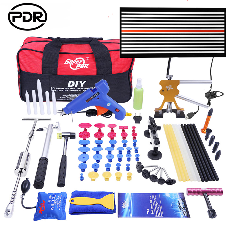PDR Tools Dent Removal Paintless Dent Repair Tools LED Lamp Reflector Board Dent Puller Hand Tool Set PDR kit Ferramentas dent puller kit pdr tools paintless dent repair removal tool car straightening instruments hand tool set ferramentas suction cup