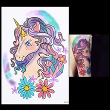 1 Piece Harajuku Waterproof Temporary Tattoo For Lady Women Men HB518 Lovely Cartoon Unicorn Design Tattoo Sticker Body Art