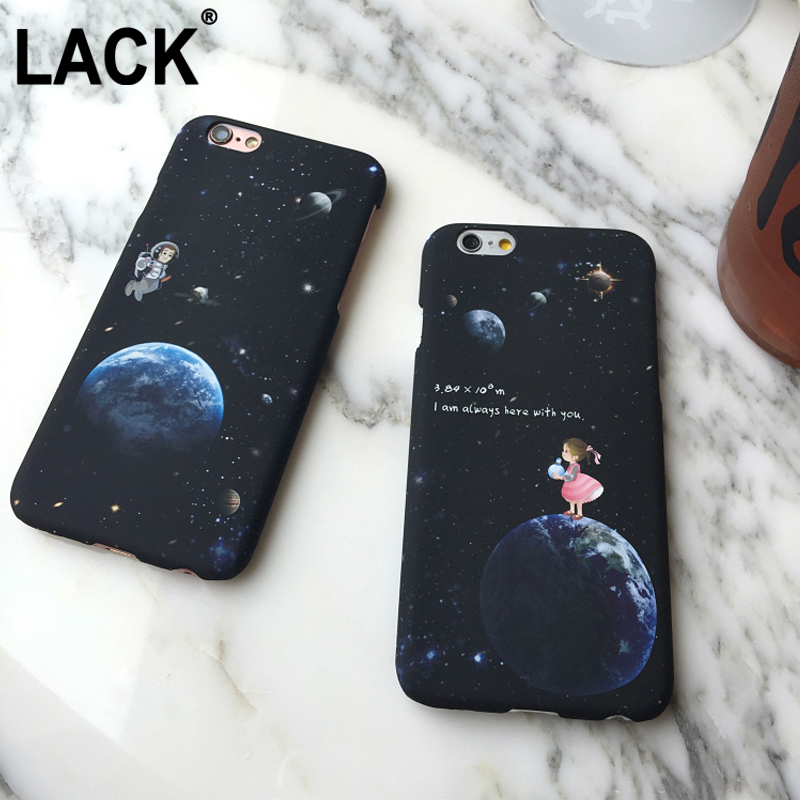 LACK For Apple iPhone 6 6S Plus Fashional 6 Series Airship Astronaut Stars Case Moon boy and girl Phone Case Fundas Coque Capa