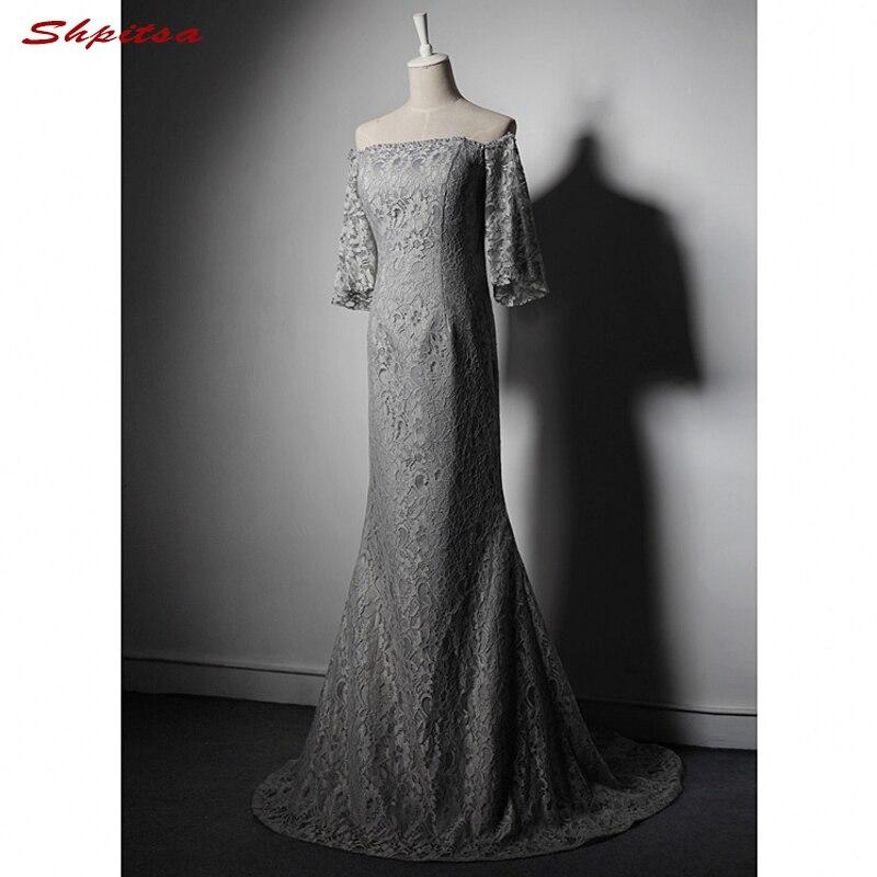 Gümüş Gri Dantel Mermaid anne Düğünler için gelin Elbise Kapalı Omuz Abiye giyim Resmi Vaftiz Anası Damat Uzun Elbiseler