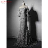 Gris plata Sirena de Encaje Madre de los Vestidos de Novia para Bodas Vestidos de Noche Del Hombro Formal Vestidos de Madrina Del Novio de Largo