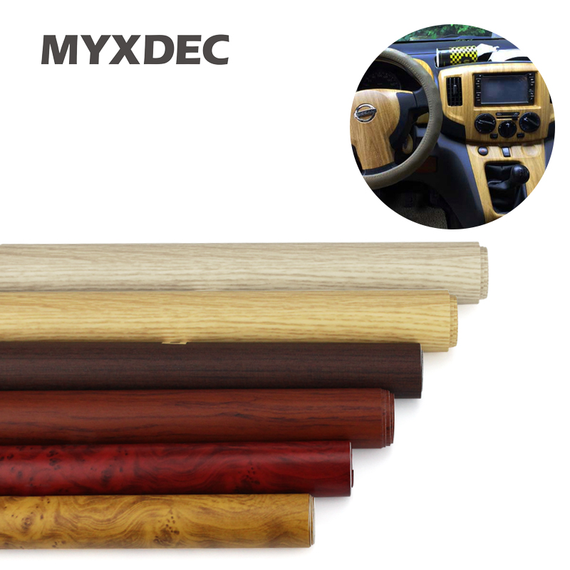 122*30CM Self-adhesive Vinyl Wood Grain Textured Car Wrap Car Internal Stickers Wallpaper Furniture Wood Grain Paper Film(China)