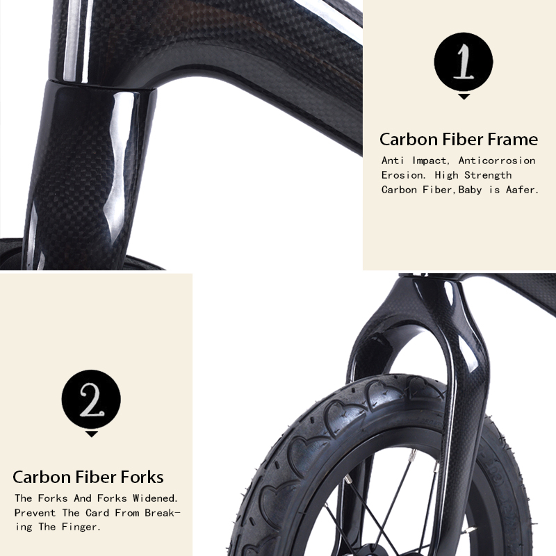 BXT inch Carbon fiber Frame Children Bicycle carbon Kids balance Bicycle For   Years Old