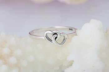 A wholesale Sale Fashion jewelry jewelry Pave Setting charm Double Heart 925 silver Retro woman Ring Ring 1