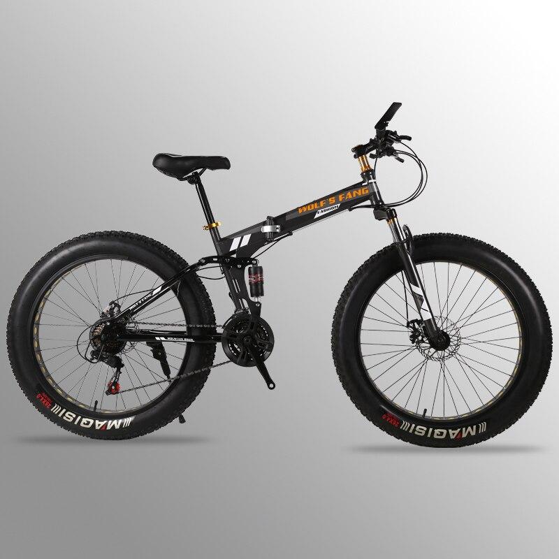 Vélo Pliant Vélo Vtt 26 pouces 21/24 Vitesse 26x4.0 fat vélo de route Avant et Arrière Mécanique disque De Frein