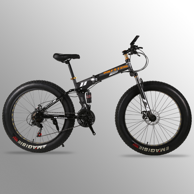 bicycle Folding Bicycle Mountain Bike 26 inches 21/24 Speed 26x4.0  fat road bike Front and Rear Mechanical Disc Brake