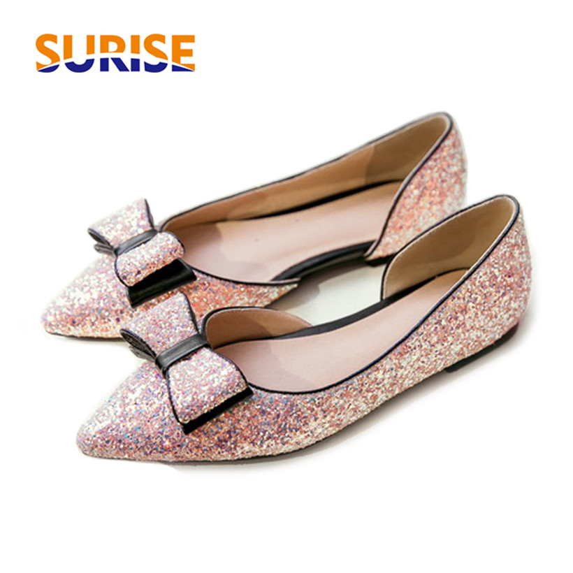 Plus Big Size Spring Bow Women Pumps Low Heels Pointed Toe Sequined Cloth Blings Summer Casual Dress Ladies D'Orsay Two Pieces plus size 34 49 new spring summer women wedges shoes pointed toe work shoes women pumps high heels ladies casual dress pumps
