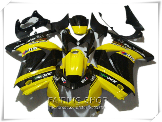 Abs Verkleidung Kit Fur Kawasaki Ninja 250r 2008 2014 2009 Gelb Schwarz Fertigen Aufkleber Kits
