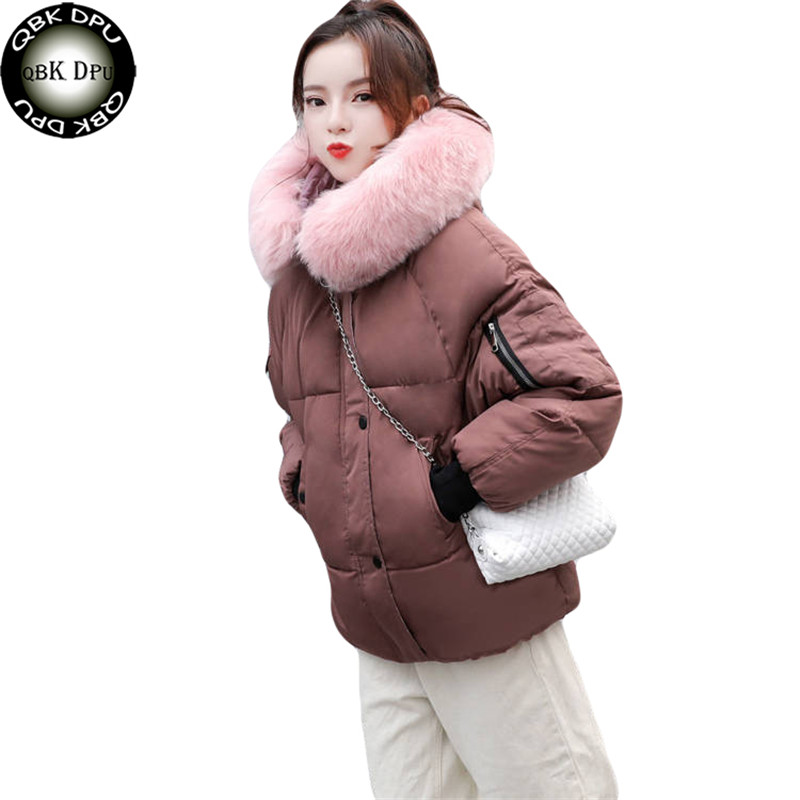Winter Casual Jacket Women   Parkas   for Coat Fashion Female Jacket With a Hood Large Faux Fur Collar Coat 2019 Autumn Outwear Lady