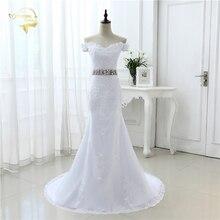 White Ivory Luxury Bridal Gown Longo Vestido De Noiva Robe De Mariage Lace Belt Mermaid Cap Sleeve Wedding Dresses 2019 JOL 8905