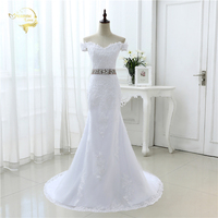 White Ivory Luxury Bridal Gown Longo Vestido De Noiva Robe De Mariage Lace Belt Mermaid Cap Sleeve Wedding Dresses 2018 JOL 8905