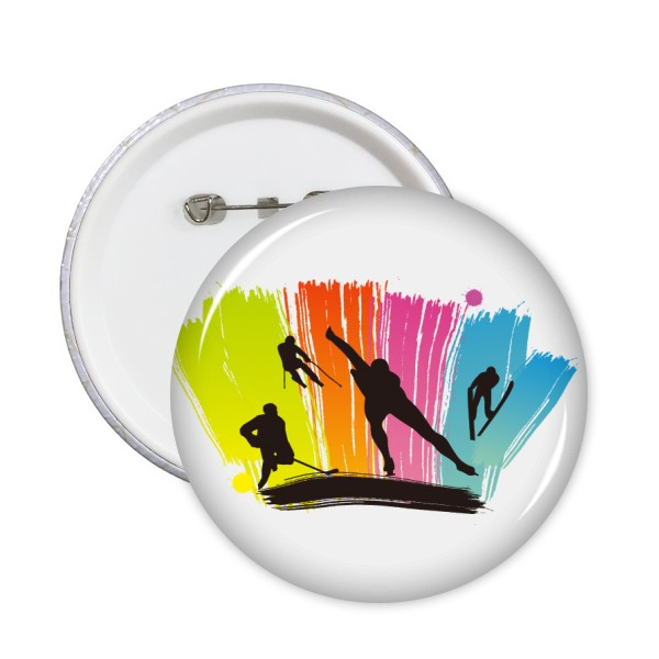 Winter Sport Skiing Skating Boots Pole Pine Tree Hockey Dancing Skateboard Girl Round Pins Badge Button Clothing Decoration 5pcs