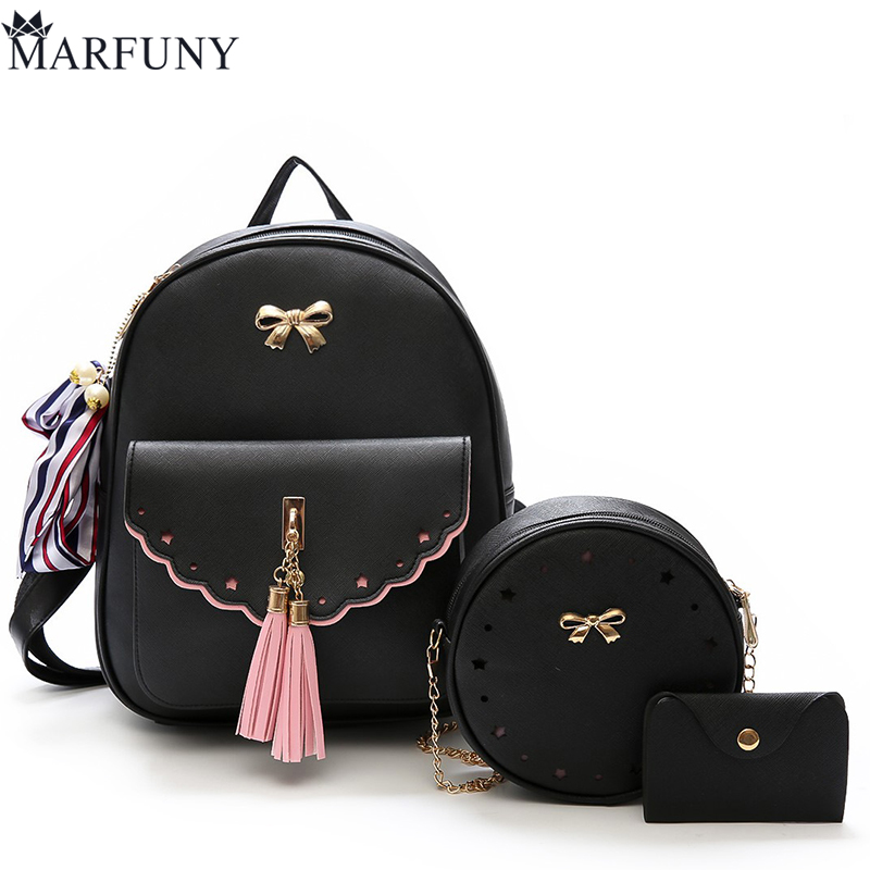 3 Pcs/Set Women Backpack Female Cute Bow Backpacks For Girls SchoolBag Fashion Tassel Backpack Hot Leather Ribbons Bag Mochila