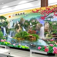 New DMC DIY Chinese Cross Stitch Kits Embroidery Needlework Sets Landscape Painting Printed Patterns Needlework Home Decoration