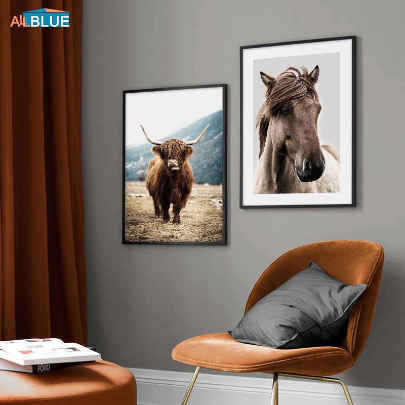 北欧ポスター羊馬ブラウン牛動物壁アートキャンバス絵画自然ポスターやプリントリビングルームのために装飾