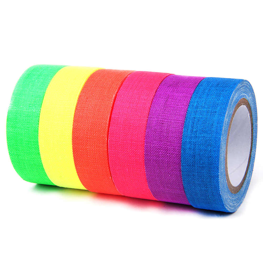 6pcs/Set UV Gaffer Fluorescent Tape Blacklight Reactive Glow In The Dark Tape Neon Cloth Tape Safety Warning Home Decoration
