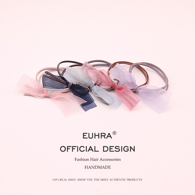 Euhra 5 Colors Elastic Hair Bands Chiffon Bow Know Headwear For Girls and Women Candy Color Handmade Hair Accessories Hairband in Women 39 s Hair Accessories from Apparel Accessories