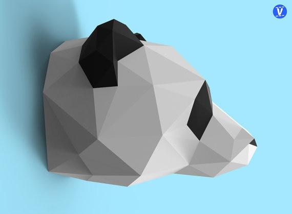 Panda Wall Hanging 3D Paper Model DIY Handmade Paper Die Hanging Toy Geometric Origami Three-dimensional Composition