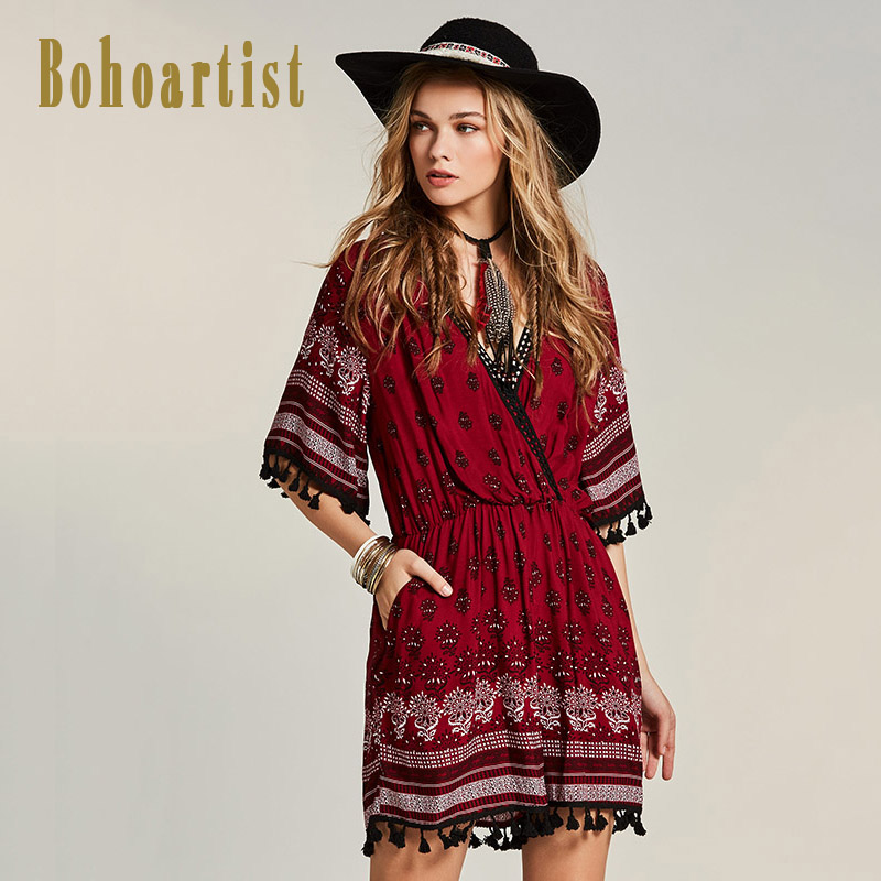 Bohoartist Women Red Jumpsuit Patchwork Floral Print Deep V Neck Wide Legs Short Playsuits Tassel Hollow Out Boho Sexy Jumpsuits
