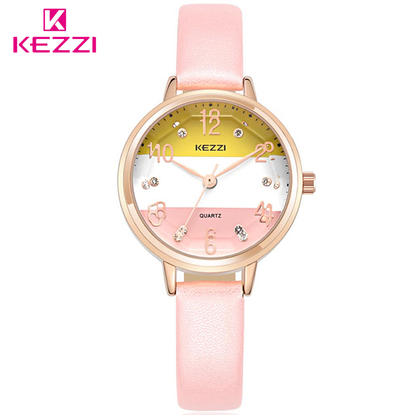 KEZZI Brand Student Casual Watches Women Ladies Leather Strap Quartz-watch  Lovely Girls Dress Luxury Wristwatch Lady Clock romantic girls lovely clay rabbit watches original quartz leather strap wristwatch factory price korean mini brand clock nw840