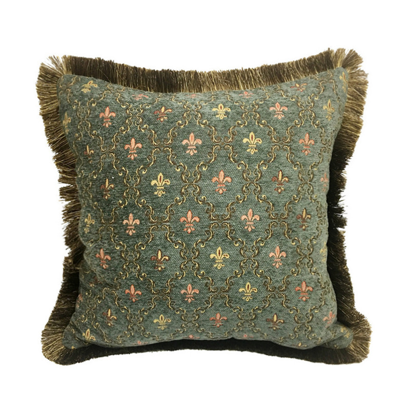 Vintage Small Flower Blue Green Chenille Throw Pillow Polyester Viscose Sofa Cushion Cover Decorative Home Pillow Case 45x45cm