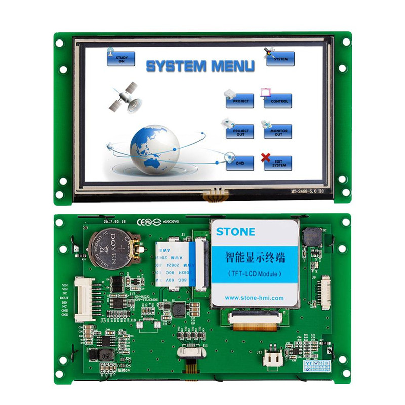 5 inch HMI Smart TFT LCD Display Module with Controller + Program + Touch + UART Serial Interface STVC050WT-01