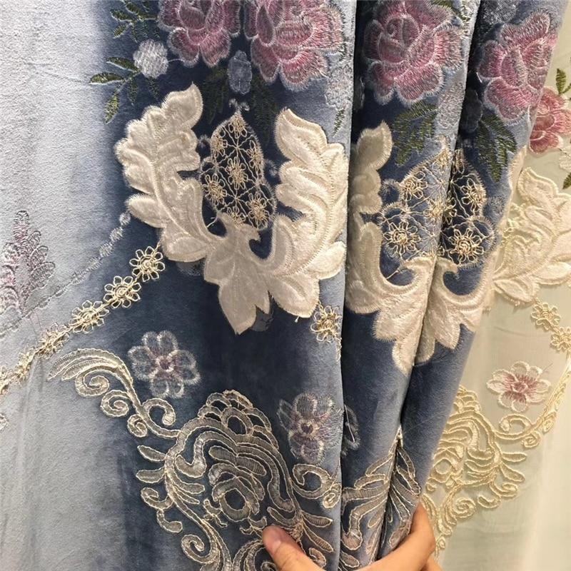 Купить с кэшбэком High-end custom European embroidery Blackout velvet curtains for Living Room classic luxury villa curtains for Bedroom Windows