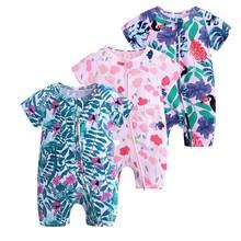 2019 orangemom official store newborn fashion boy and girl bodysuit  jumpsuit printed short-sleeved Zipper Brands Baby