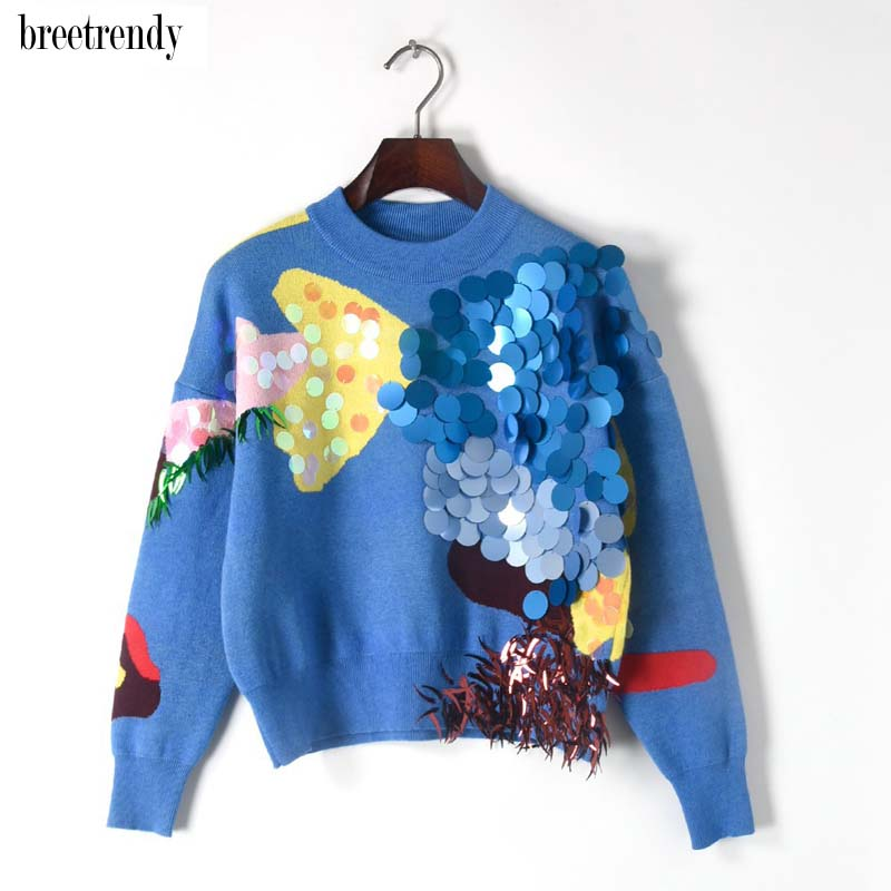 MY1417  Fashion Color Block Patchwork Big Sequines Decoration Chic Sweater Women Pullover O Neck Short Sweaters Knitting Tops