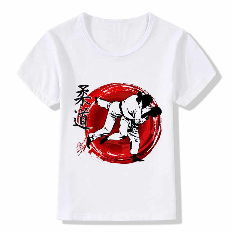 Chłopcy i dziewczęta ewolucja Judo T shirt letnie dzieci topy T shirt dzieci dorywczo miękkie ubrania, ooo402