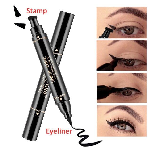 Lápiz Delineador de Ojos de doble extremo resistente al agua de larga duración Delgado sello de delineador de ojos líquido de moda Lápiz Delineador de ojos cosmético