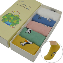 5 Pair/set Candy Color Cute Cartoon Cat Women Socks Cotton Kawaii Cute Fashion Girls Short Ankle Invisible Socks with Gift Box