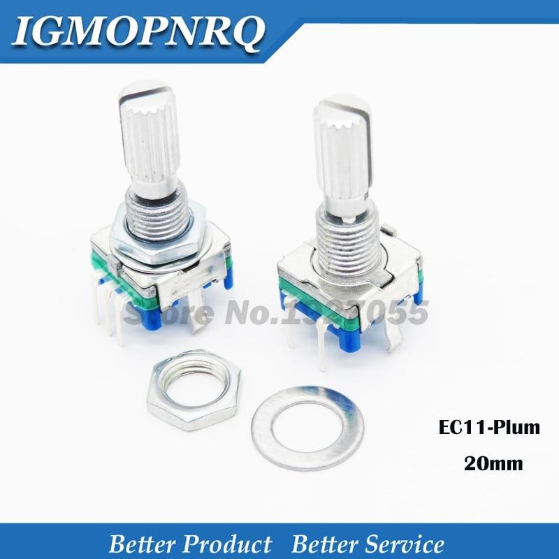10 pièces prune guidon 15mm encodeur rotatif codage interrupteur/EC11/potentiomètre numérique avec interrupteur 5 broches nouveau