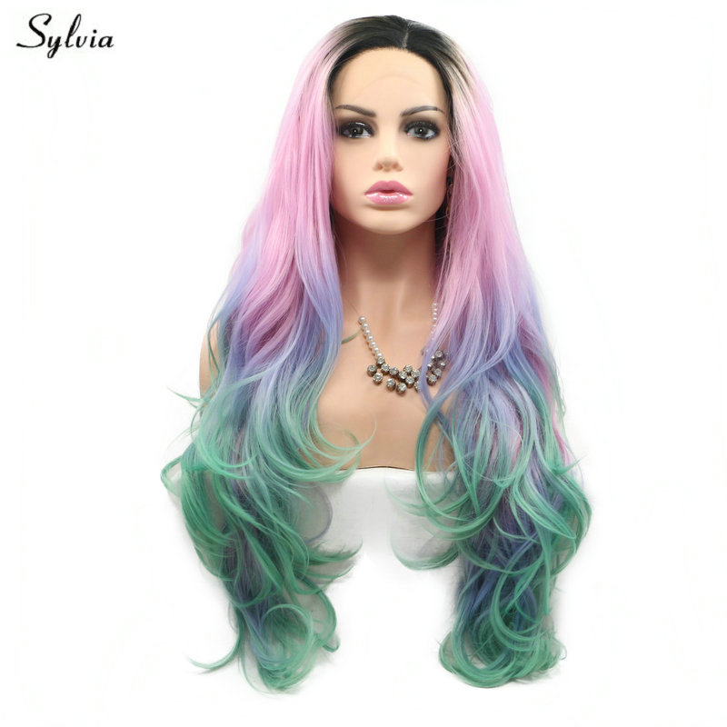 Sylvia Heat Resistant Colorful Mermaid Dark Roots Ombre Pink Purple Green 4 Tone Natural Wave Synthetic Lace Front Wig Long Hair