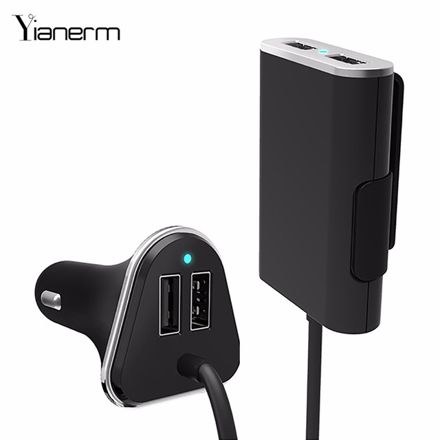 Newest 4-Port Front And Back Seat Car phone Charger With 1.8M Cable For All Usb Port Devices 9.6A mobile phone car charger