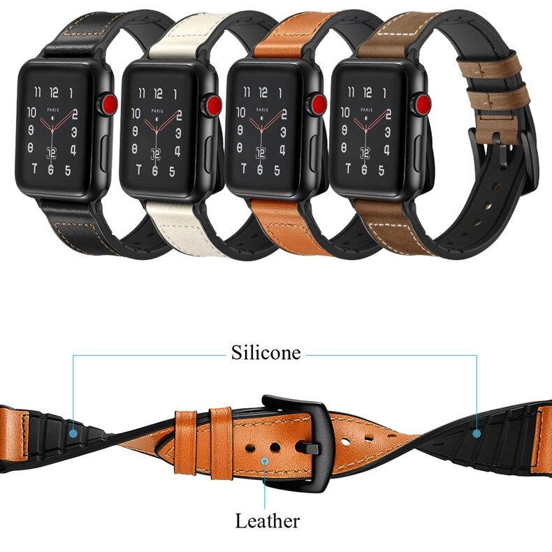De cuero + correa de silicona para apple watch banda 42mm 38mm ... dd7e80fa053