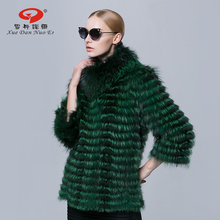 Winter real fur coat for women Silver fox fur medium long outerwear genuine leagther jacket brand new  fashion fur coat