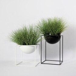 17*17*17cm Metal Flower Pot with Stand Planter Garden Home Office Balcony Decor Flower Display Rack Holder Flowerpot Shelf
