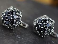 S925 sterling silver jewelry wholesale Thai fine inlay zircon black women beautiful flower studs earrings elegant free shipping