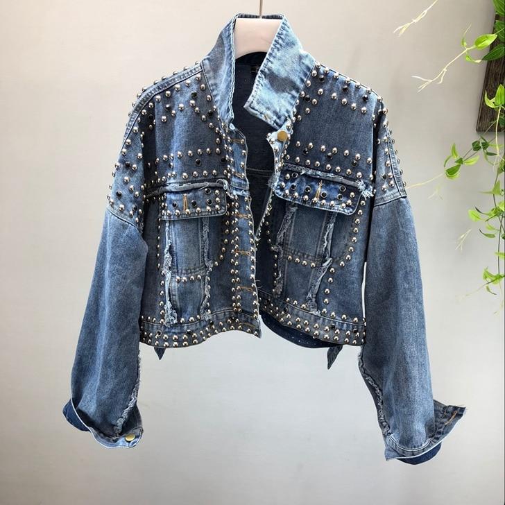 Womens vintage Denim jeans jacket punk rock rivets denim jacket coat outwear